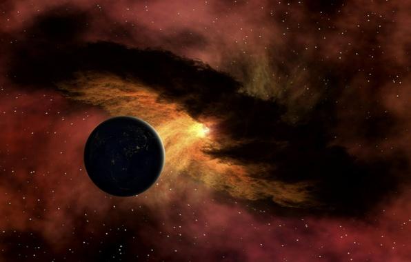 Картинка энергия, космос, звезды, туманность, планета