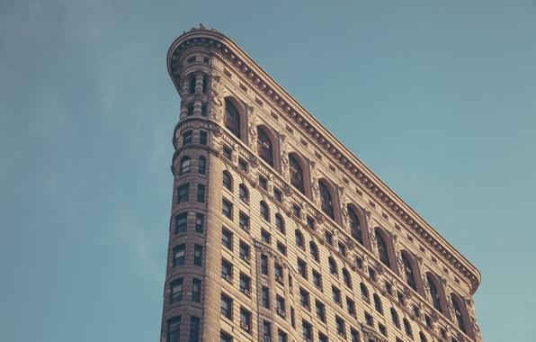 Картинка здание, Нью-Йорк, New York, Flatiron, Building, Утюг, Бродвей, Пятое авеню, Флэтайрон-Билдинг