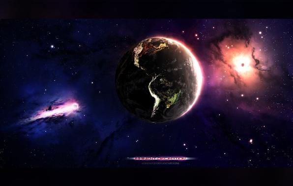 Картинка космос, звезды, туманность, земля, планета, earth, арт, space, universe, nebula, art, planet