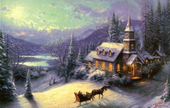 Картинка зима, дорога, лес, свет, снег, горы, озеро, отдых, лошадь, рисунок, дома, картина, ели, арт, рисунки, …