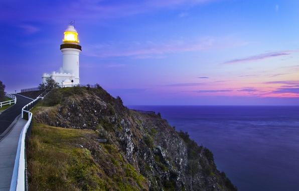 Картинка дорога, море, небо, закат, скалы, маяк