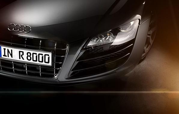 Картинка Audi, ауди, фара, перед, серебристая, блик, front, silvery, радиаторная решётка