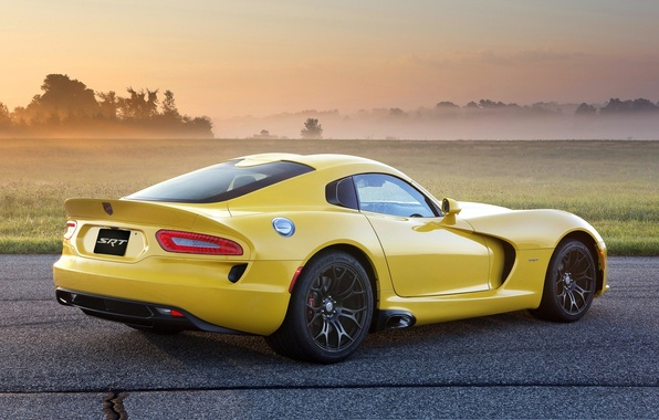 Картинка поле, желтый, туман, Додж, Dodge, суперкар, диски, Viper, вид сзади, GTS, Вайпер, SRT