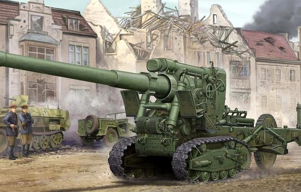 Картинка большой, арт, 152, художник, пушка, операция, ВОВ, артиллерия, калибр, советская, WW2, буксировка, образца, мощности, наступательная, …