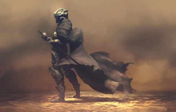 Картинка фантастика, меч, воин, плащ, рендер, hq wallpaper, nomad