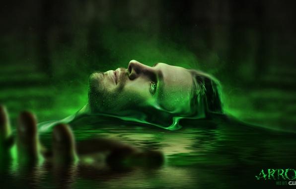 Картинка вода, лицо, мужчина, сериал, источник, dc comics, Стрела, arrow, green arrow, oliver queen, stephen amell
