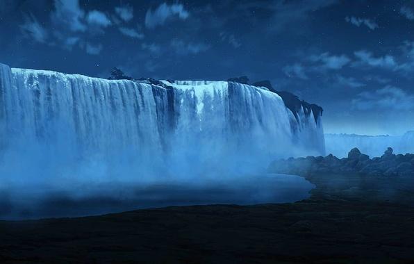 Картинка звезды, облака, ночь, водопад, арт, дымка
