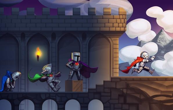 Картинка облака, мост, замок, коробка, игра, доспехи, арт, ящик, плащ, рыцари, уровень, 2d platformer game