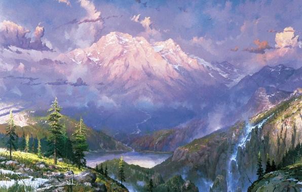 Картинка снег, пейзаж, горы, природа, озеро, водопад, сумерки, живопись, Томас Кинкейд, painting, Thomas Kinkade, Twilight Vista