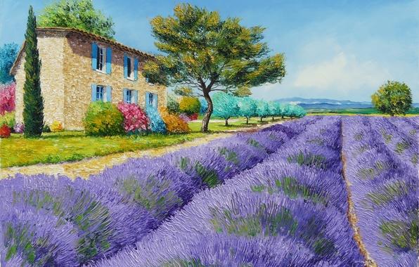 Картинка поле, деревья, пейзаж, цветы, горы, дом, картина, арт, кусты, Jean-Marc Janiaczyk, лаванда, Прованс