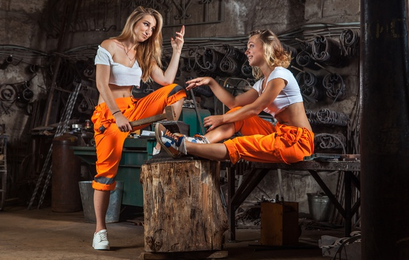 Фото обои models, workers, poses, metallurgy, work clothes