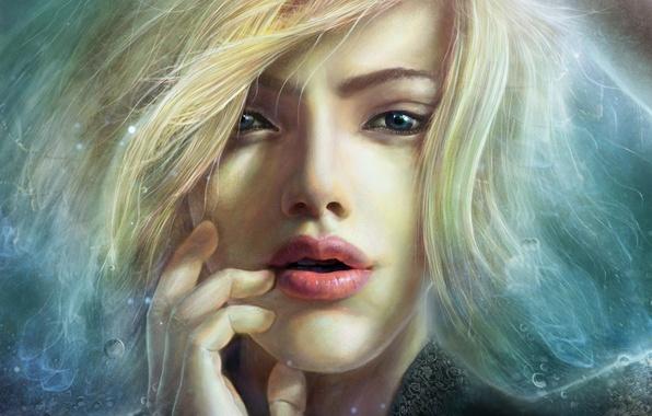 Картинка взгляд, девушка, лицо, волосы, арт, пальцы, FX_visual