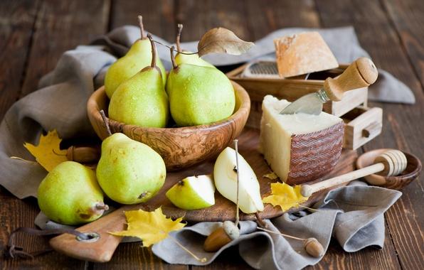 Картинка осень, листья, еда, желтые, сыр, урожай, нож, посуда, фрукты, натюрморт, груши, Anna Verdina