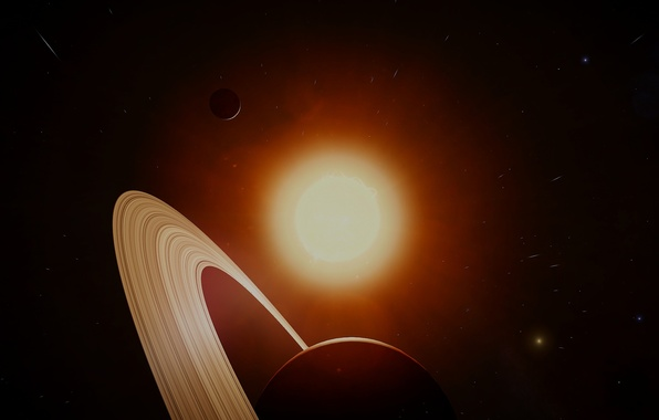 Картинка солнце, космос, звезды, Сатурн