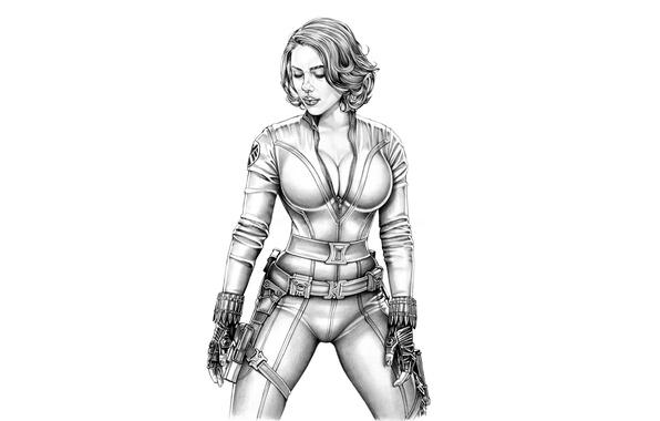 Картинка девушка, Scarlett Johansson, арт, белый фон, карандаш, Скарлетт Йоханссон, Мстители, Avengers, Armando Huerta