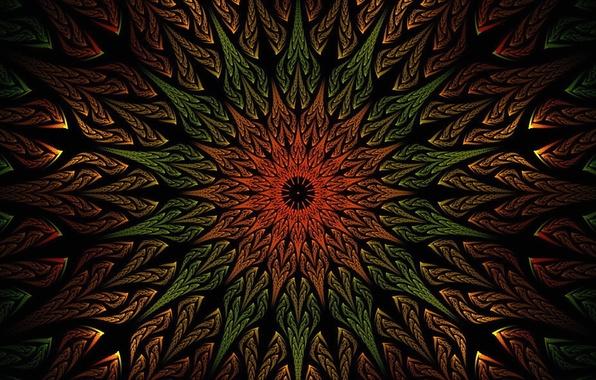 Картинка цветок, лучи, узор, краски, лепестки, объем