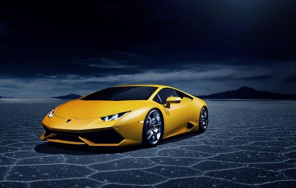 Картинка пустыня, Lamborghini, yellow, LP 610-4, Huracan, LB724