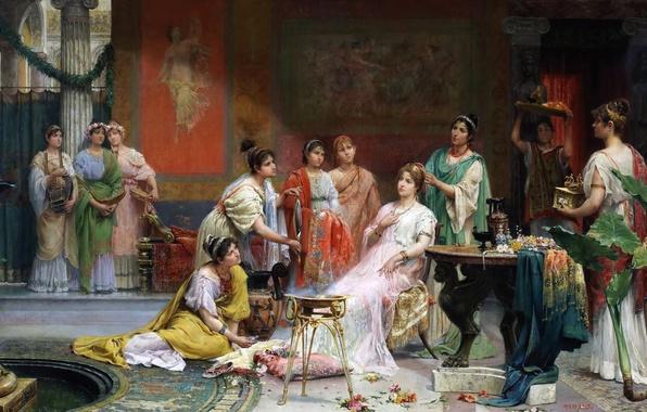 Картинка картина, жанровая, Хуан Хименес и Мартин, Туалет Римской Дамы