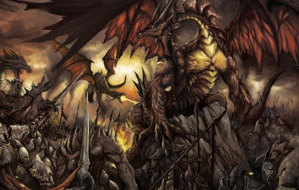 Картинка небо, тучи, фантастика, дракон, крылья, доспехи, арт, пасть, мечи, воины, dragon war