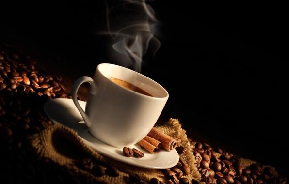 Картинка кофе, палочки, чашка, корица, мешок, кофейные зерна, аромат, coffee, Cup, bag, лопатка, shoulder, coffee beans, …