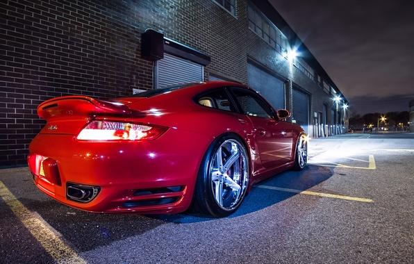 Картинка 911, Porsche, Red, Glow, Lights, Night, Turbo, Tuning, Wheels, Garage, Rims