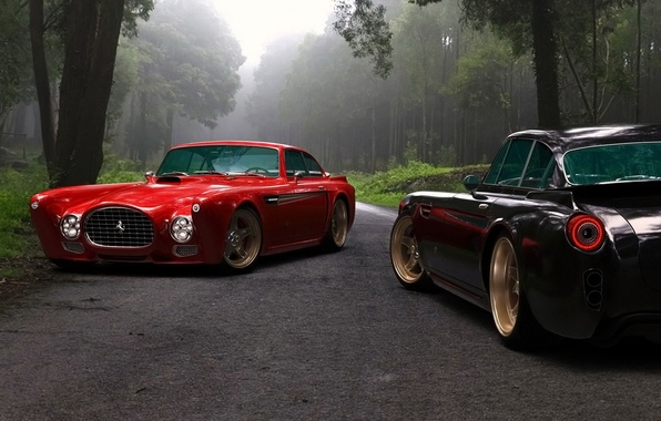 Картинка дорога, лес, деревья, две, Ferrari, автомобиль, феррари, Competizione Design, F-340, Gullwing America