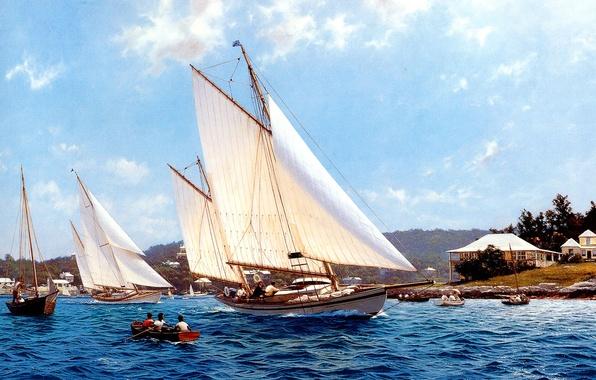 Картинка море, небо, облака, люди, отдых, лодка, картина, яхты, J. Steven Dews