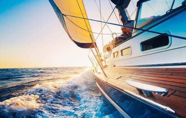 Картинка море, волны, небо, пена, вода, брызги, настроение, океан, ветер, widescreen, лодка, пейзажи, корабль, ситуация, корабли, …