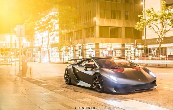 Картинка city, Lamborghini, Ламборджини, street, Hong Kong, Sesto Elemento, Chester ng, шестой элемент