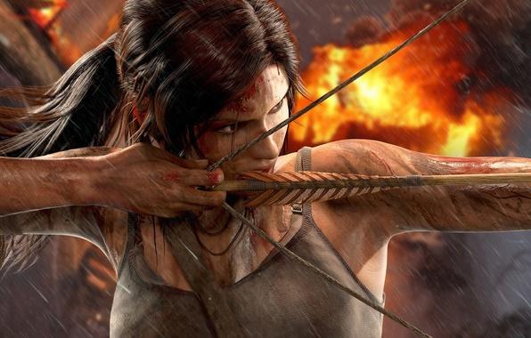 Картинка грудь, девушка, взрыв, дождь, огонь, кровь, лук, грязь, Tomb Raider, Лара Крофт, Square Enix, survivor, …