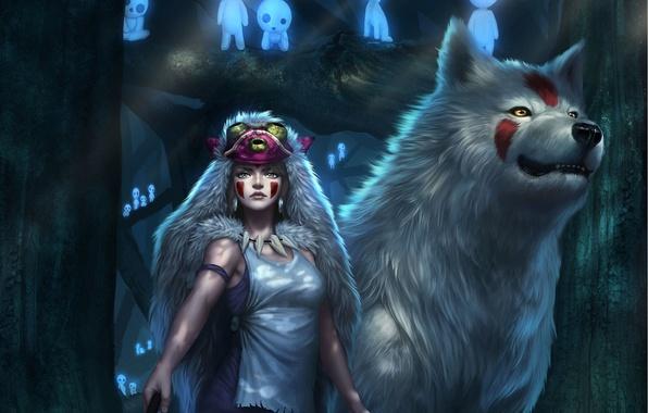 Картинка лес, взгляд, девушка, волк, аниме, арт, шкура, Princess Mononoke