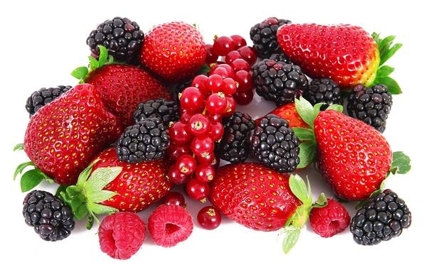 Картинка ягоды, малина, клубника, ежевика, красная смородина