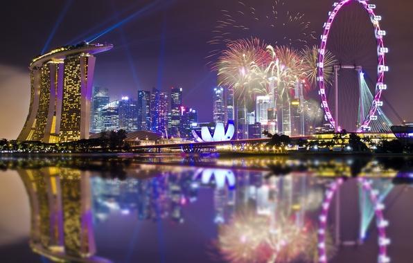 Картинка небо, ночь, lights, огни, отражение, праздник, небоскребы, подсветка, залив, Сингапур, фейерверк, архитектура, мегаполис, sky, night, …