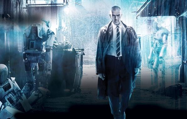 Картинка фантастика, дождь, роботы, переулок, Antonio Banderas, Антонио Бандерас, Automata, Страховщик