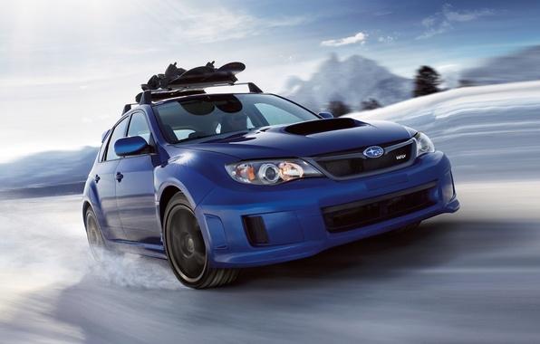 Картинка небо, снег, синий, Subaru, Impreza, WRX, STI, Субару, Импреза, передок