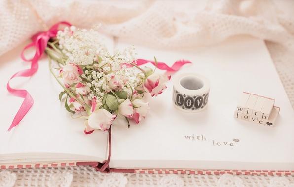 Картинка цветы, надпись, розы, букет, тетрадь, винтаж