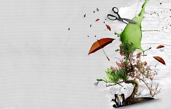 Картинка дерево, коллаж, фотошоп, зонт, пингвины, ножницы