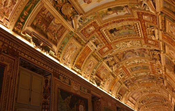 Картинка коридор, потолок, галерея, Ватикан, Музеи Ватикана