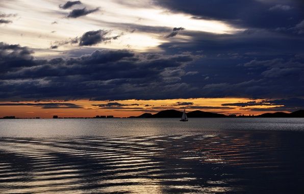 Картинка небо, вода, тучи, озеро, лодка, корабль
