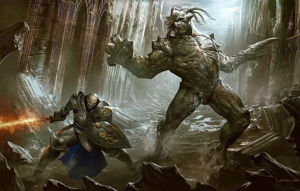 Картинка оружие, скалы, огонь, череп, здания, арт, монстры, ущелье, руины, щит, заброшенность, нежить, доспех