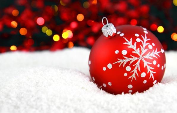 Картинка снег, красный, узор, игрушка, шар, Новый Год, Рождество, Christmas, снежинка, боке, New Year, новогодняя, елочная