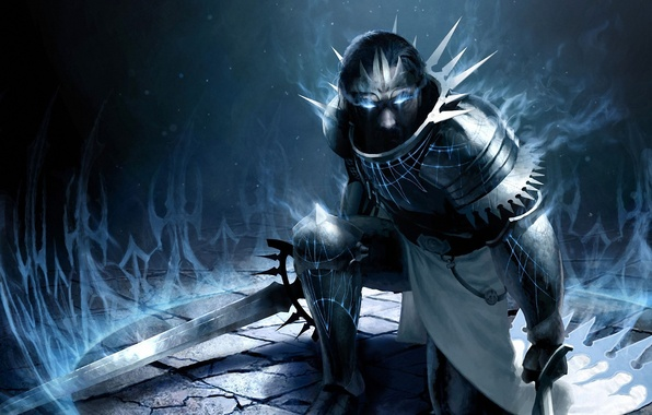 Картинка оружие, магия, меч, арт, мужчина, броня, Magic, The Gathering