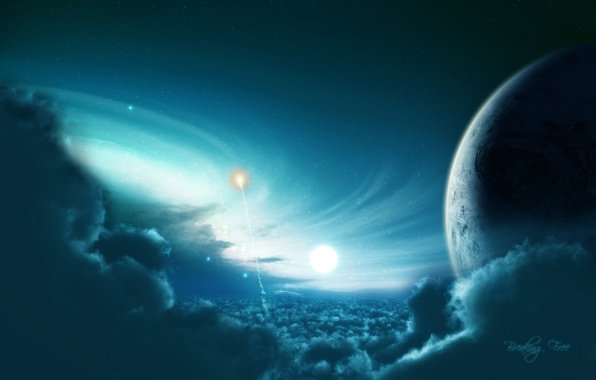 Картинка light, blue, planet, Sci Fi