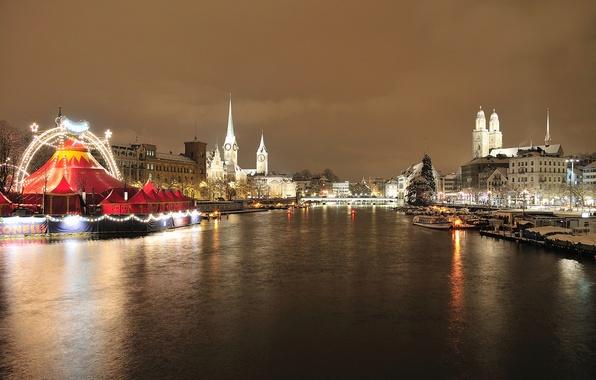 Картинка небо, деревья, мост, огни, река, праздник, башня, дома, вечер, Швейцария, Цюрих