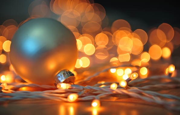 Картинка зима, белый, свет, огни, игрушка, шар, Новый Год, Рождество, гирлянда, Christmas, праздники, боке, New Year, …