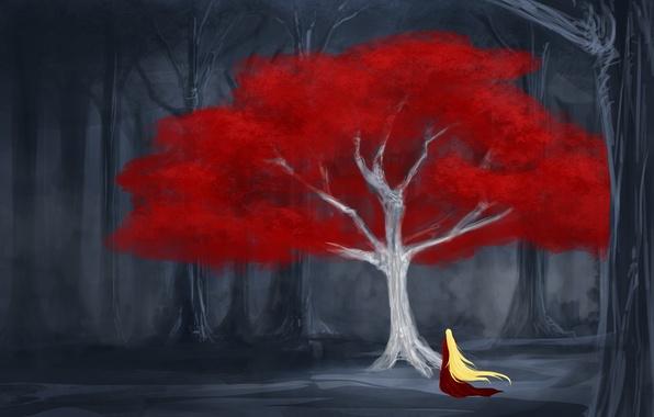 Картинка лес, листья, девушка, дерево, арт, красное платье, длинные волосы