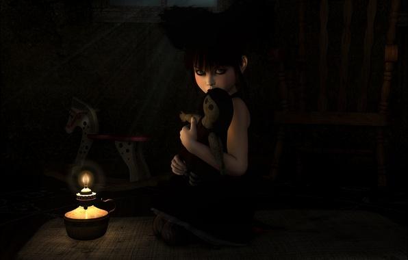 Картинка одиночество, огонь, игрушка, темно, лампа, свеча, арт, девочка