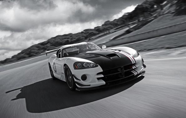 Картинка дорога, тучи, черно-белый, Dodge, Viper, srt10
