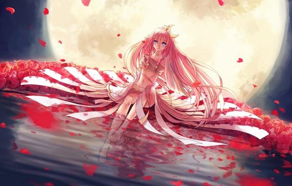Картинка вода, девушка, цветы, ночь, отражение, луна, розы, месяц, лепестки, арт, vocaloid, l-kun