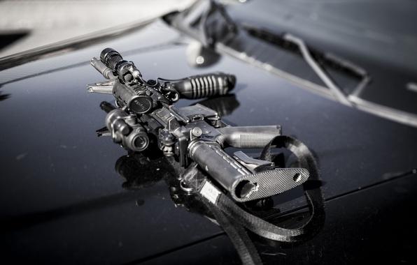 Картинка оружие, капот, автомат, assault rifle, AR-15, штурмовая винтовка